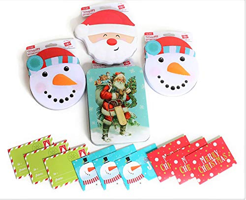 (Assorted Christmas Holiday Gift Card Money Cash Tin Holders, Bulk Set of 4 Snowman, Santa Shape and Vintage Design Keepsake Gift Tin Boxes with Free 9 Cute Paper Gift Card Holders. (Tin Cans))