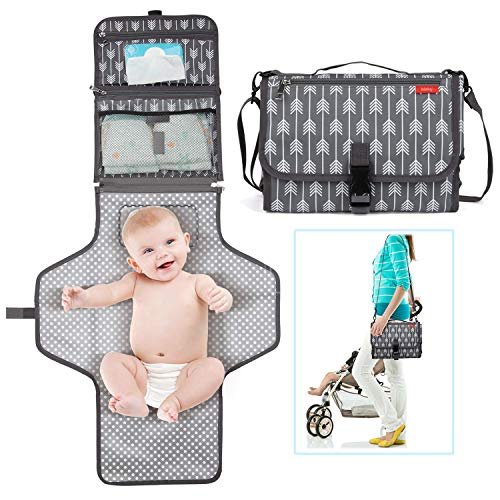 Portable Diaper Changing Pad, Waterproof Baby Changing Mat with Shoulder Belt, Built-in Head Cushion, Travel Changing Station Kit for Infants & Newborns, Large Pockets for Diapers, Wipes and Creams