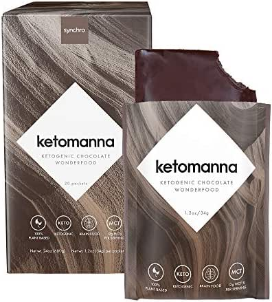 Synchro Ketomanna - Ketogenic Chocolate 12g MCTs - Low Carb + Keto Dessert Snack Perfected (Box of 20 Packets)