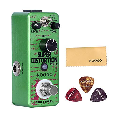 Koogo DIST-4 Distortion Pedal with Classic Solo/Hard Edge/Crunch/Classic Rock Rythm Sound Guitar Effect Pedal