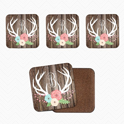 Set of 4 Rustic Floral Personalized Custom Coasters with stand!. Cork Backed Coaster with Deer Antlers & Initial with - L And Christmas Barn G