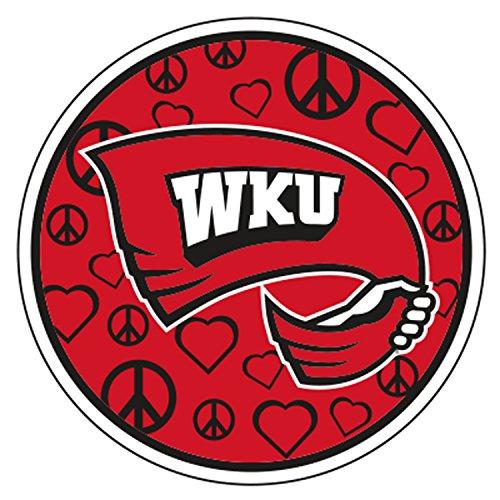 Western Kentucky Decal PEACE LOVE WKU TOPPER DECAL ()