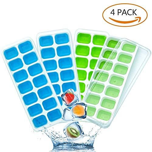 Lookka Ice Cube Trays with Lids, Easy-Release Silicone and Flexible 14-Ice Trays with Spill-Resistant Removable Lid, 4-Pack Ice Cube Molds for Whiskey, Cocktail, Beverages (Blue & Green)