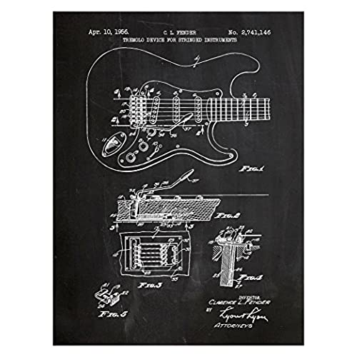 Blueprints art amazon inked and screened fender stratocaster guitar design patent art poster silk screen print chalkboard malvernweather Gallery