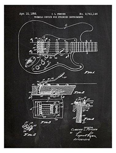 """Inked and Screened """"Fender Stratocaster Guitar Design Patent Art Poster Silk Screen Print, Chalkboard - Fender Stratocaster - chalkboard Hand crafted by artisan printers using a tried and true technique to create vivid designs Liven up your home or office with these sophisticated, hand made original art pieces - wall-art, living-room-decor, living-room - 51RYUncXGiL -"""