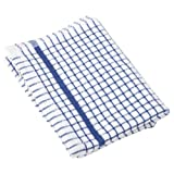 1 Dozen Original Lamont Poli-Check Tea Towel Kitchen Dish Towels Poli Dri, 12 Pack (Blue)