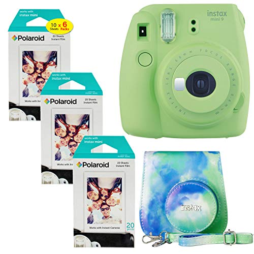 Fujifilm Instax Mini 9 Instant Camera (Lime Green), 6 x Packs Instant Film (60 Sheets) with Groovy Case Bundle
