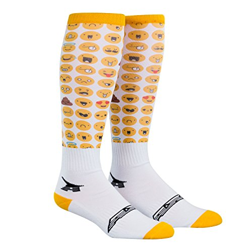 AXO Unisex-Child Emoji Kids MX Socks (White/Yellow, One Size) by AXO