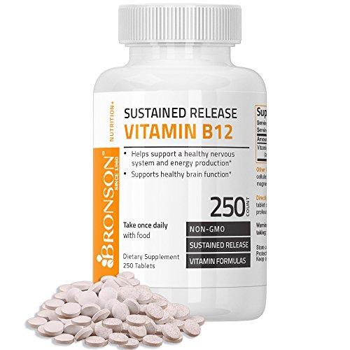 Bronson Vitamin B12 Sustained Release Non-GMO Premium Formula, 250 Tablets