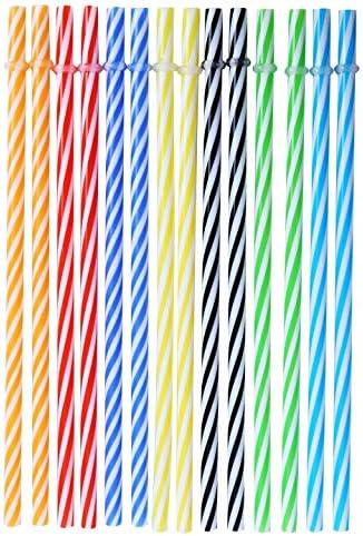 Herbruikbare plastic rietjes BPAvrij Kleurrijk 25 stuks 9 inch dik plastic drinkrietje voor feest of familiegebruik