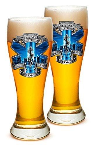 Pilsner - EMT Paramedic Gifts for Men or Women - EMT Beer Glassware - 911 EMS Blue Skies Barware Glasses - Set of 4 (23 Oz) by Erazor Bits