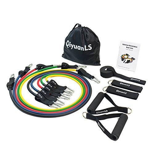 QiyuanLS 11pc Exercise Resistance Bands Set Handles, Ankle Straps, Door Anchor Resistance Training, Therapy, Home Workouts, Building Muscle, Lose Weight (Yellow, Green, Red, Blue, Black)