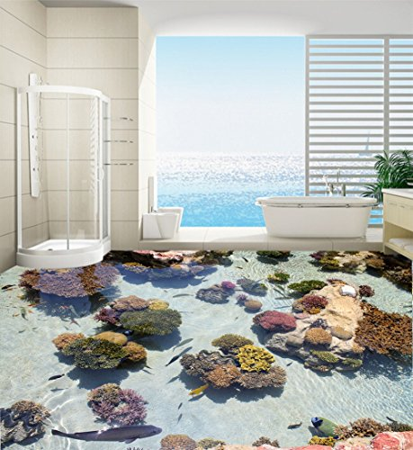 ZLJTYN 240cmX160cm Decorate your home door wallpaper murals 3d fish and stone floor bathroom large size pvc waterfall flowers customize by ZLJTYN