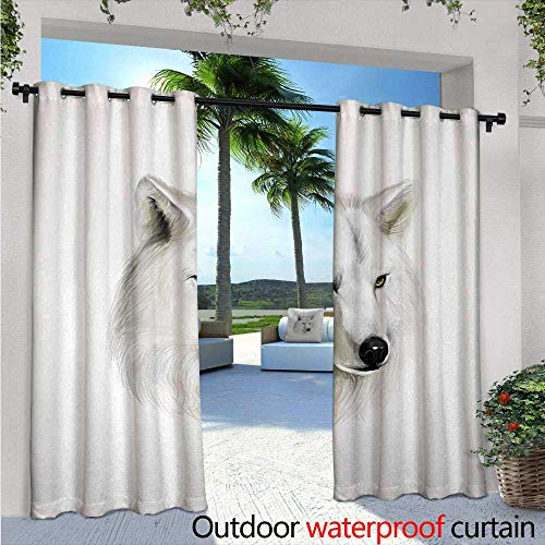 Great White Wild Slide - BlountDecor Wolf Indoor/Outdoor Single Panel Print Window Curtain White Canine Head with Great Detail Hunter Mammal Wildlife Nature Scene Art Silver Grommet Top Drape W108 x L108 Black Beige Yellow