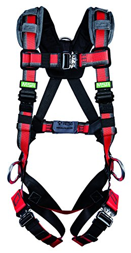 (MSA 10155577 Evotech Lite Line Harness with Quick-Connect Leg Strap, Back and Hip D-Ring, Small )