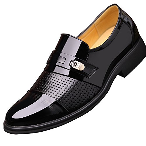 FUDITAI Mens Patent Leather Tuxedo Dress Shoes Pointed Toe Oxfords (Black) US12