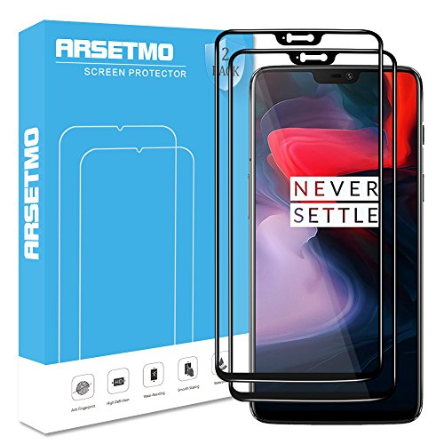 Oneplus 6 Screen Protector (2 Pack), Arsetmo [9H Hardness] [2.5D Curved Edge-Full Coverage] [HD Clear] [Scratch Free] Tempered Glass Screen Protector for Oneplus 6 (Black)