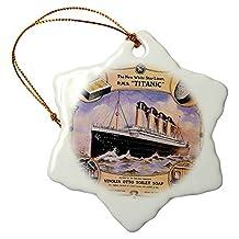 "Ornaments to Paint _ Vintage White Star Line Titanic Vinolia Otto Toilet Soap Advertising Poster Snowflake Ornament, Porcelain, 3"""