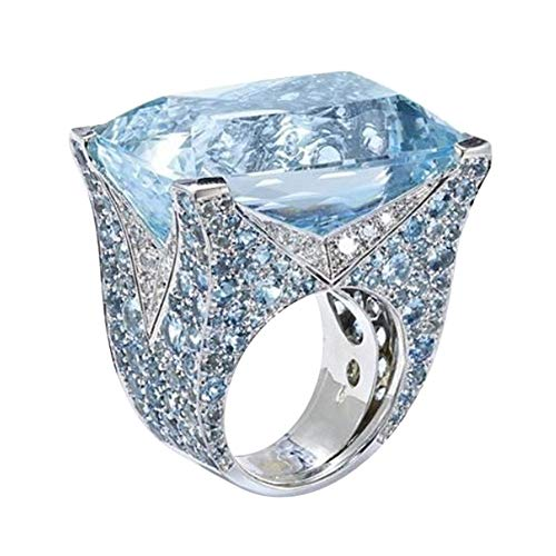 Sinwo Women Exquisite Ring Sea Blue Sapphire Diamond