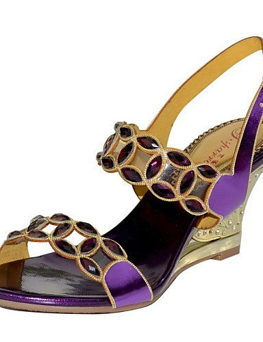 ShangYi Womens Shoes Leather Wedge Heel Heels Sandals Party & Evening / Dress / Casual Black / Purple Purple