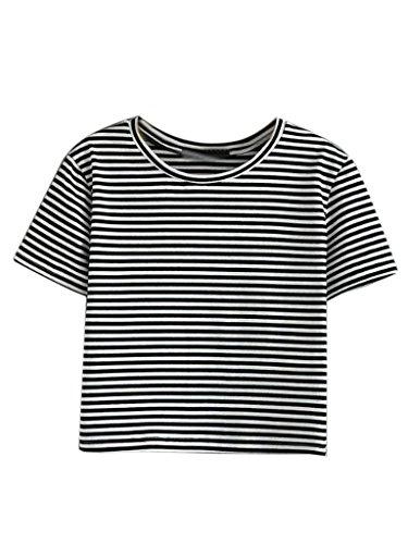 PERSUN Juniors Stripes Cropped T shirt