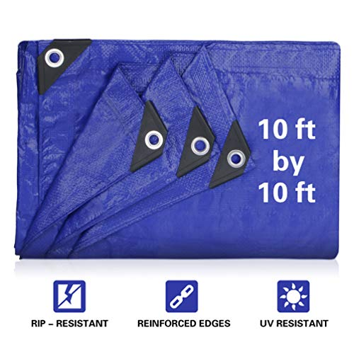 JTW Product 10' x 10' Finished Size, 5 Mil Thick Medium Duty 95gsm Multi-Purpose Waterproof Tarpaulin UV Resistant,Pe tarpaulin, Rot, Rip Tear Proof Boat Tarp Covers with Grommets and Reinforced Edges by JTW Product