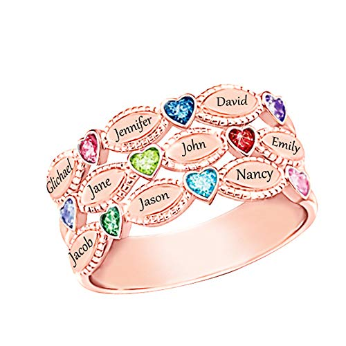 (Shiny Alice Personalized Mothers Rings 9 Simulated Birthstones Rings for Mother Name Rings Mother Grandmother Gifts for Mother's Day(Rose-Gold)