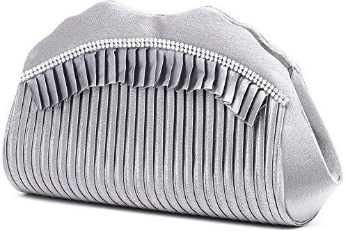 con cm x Frizione L colore in Borse argento borse A 5x8 P removibile sottobraccio cm con 5x9 31 a VINCENT x sera catena tracolla da 5 strass PEREZ argento raso 120 S5TggwfqO