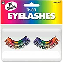 "Party Ready Team Spirit Tinsel Eyelashes Accessory, Rainbow, plastic , 1/2"" x 1"", Pack of 2"