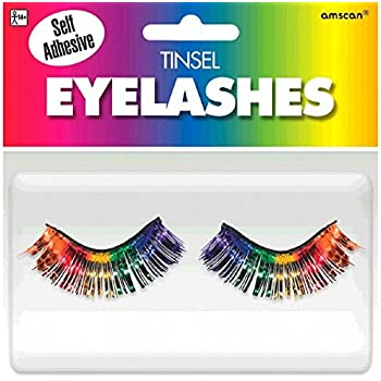 """Party Ready Team Spirit Tinsel Eyelashes Accessory, Rainbow, plastic , 1/2"""" x 1"""", Pack of 2"""