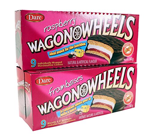Raspberry Wagon Wheels - Chocolate Covered Marshmallow cookies with a Raspberry filling- 9 count (2-pack)