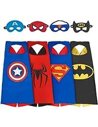 AMASKY Dress Up Costume Set of Superhero 4 Satin Capes with Felt Masks For Kids