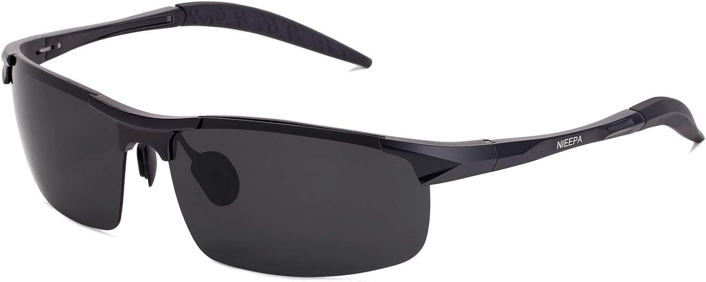 Men's Cycling Polarized Sunglasses Aluminum Magnesium Frame Spring Hinge Design Rectangular Lens Driving Surfing Skiing Fishing Sports Outdoor Shades Sporting Glasses(Grey Lens/Black Frame)