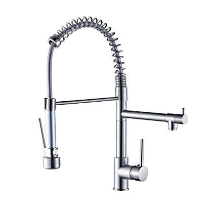 Beau Fapully Contemporary Spring Single Handle Kitchen Sink Faucet With Pull  Down Sprayer, Brushed Nickel