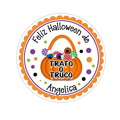 Personalized Customized Halloween Party Favor Thank You Stickers - Trato o Truco - Round Labels - Choose Your Size ()