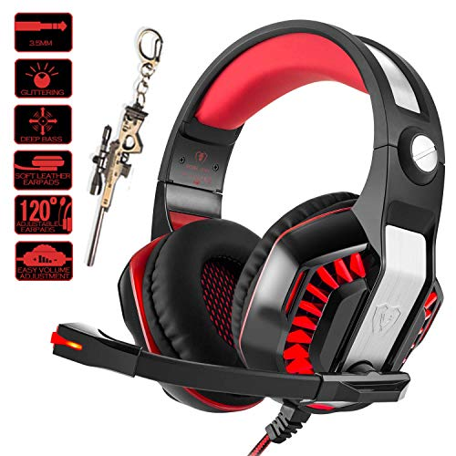 (Pro Gaming Headset for PC PS4 Xbox One with Mic Over-Ear Headphones for Laptop Computer Games with Noise Cancelling Stereo 50mm Driver Memory Earmuffs Volume Control Gift for Kids Boy Teens )