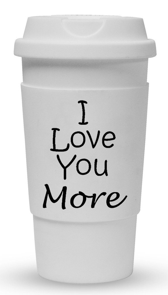 Funny Guy Mugs I Love You More Travel Tumbler With Removable Insulated Silicone Sleeve, White, 16-Ounce by Funny Guy Mugs (Image #1)