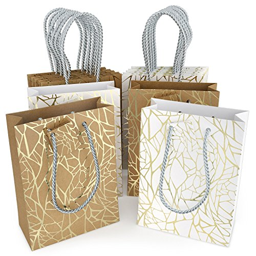 Glogex Gift Bags, Kraft Paper Gifts Bag for Birthday, Weddings Presents (Set of 14 Bags, 2 Crack Designs)]()