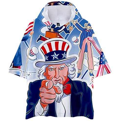 YOCheerful Men's Tops Printed Hooded Short Sleeve Casual Hoodies Large Size Tops Independence Day Tops(Blue, M) ()