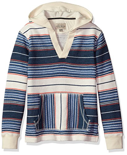 Lucky Brand Toddler Boys' Long Sleeve French Terry Stripe Hoodie, Stripe Birch, 3T