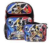 Power Rangers 'Super Ninja Steel' New Black Boys' Large School Backpack & Lunch Kit Set