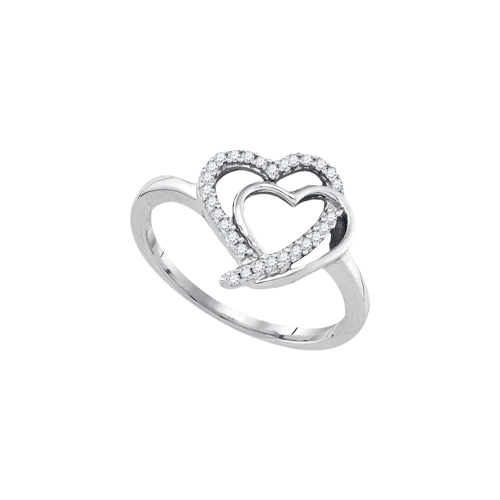 Sterling Silver Womens Round Diamond Double Joined Heartss Love Ring 1/6 Cttw (I2-I3 clarity; J-K color)