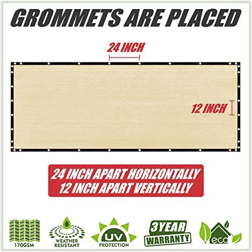 ColourTree 8 x 50 Beige Fence Privacy Screen Windscreen Cover Fabric Shade Tarp Netting Mesh Cloth – Commercial Grade 170 GSM – Cable Zip Ties Included – Custom