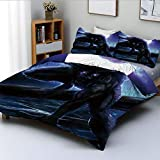 Duplex Print Duvet Cover Set Full Size,Surreal Werewolf with Electric Eyes in Full Moon Transformation FolkloricDecorative 3 Piece Bedding Set with 2 Pillow Sham,Purple Blue,Best Gift For Kids & Adult