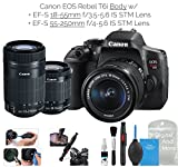 Cheap Canon EOS Rebel T6i Digital SLR Camera (Wifi Enabled) Creator Kit w/EF-S 18-55mm f/3.5-5.6 IS STM Lens + EF-S 55-250mm f/4-5.6 IS STM Lens + DigitalAndMore Deluxe Camera Cleaning Solution