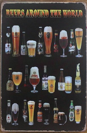 Beers Around The World,Retro Vintage Tin Sign Metal Tin Sign, Wall Decorative Sign 812inch (Beer Around The World)