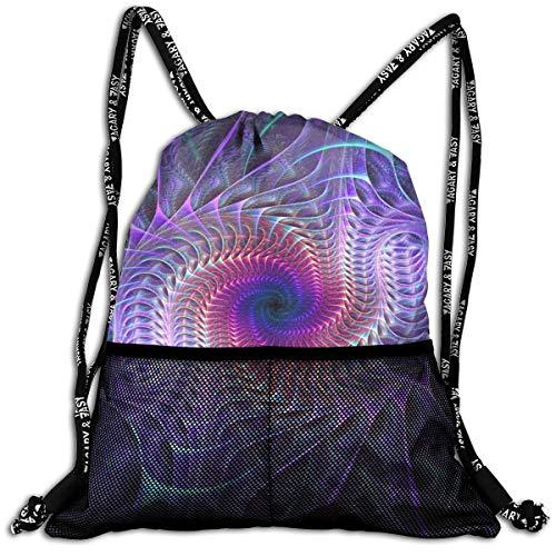 Men & Women Premium Polyester Drawstring Bag Purple Psychedelic Trippy Art Daypack Theft Proof Lightweight For Traveling Soccer Baseball Bag Large For Camping, Yoga Runner ()