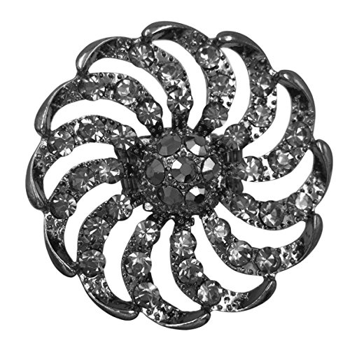 Large Flower Pinwheel Rhinestone Statement Big Stretch Cocktail Ring (Gun Metal Grey)