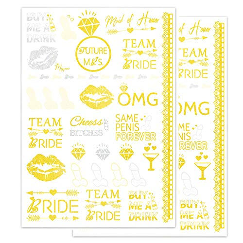 Bachelorette Party Tattoos Team Bride Maid of Honor Stickers Bridal Shower Favor Body Face Temp Tattoo Metallic Gold Silver Wedding Decorations by Mypre