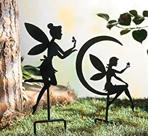 Fairy Silhouette Yard Stakes Garden Art Set of 2